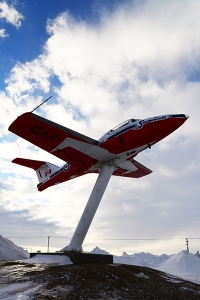 "This retired Snowbirds' tutor jet is located next to ""Mac the Moose"" close the tourist information center along the Trans Canada Highway."