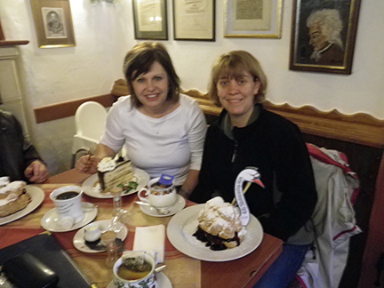 Theresa (right) and myself just before we reach for our forks to decimate these decadent creations...