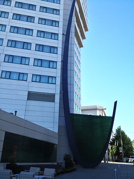 "The sculpture title is ""Orizon"". In 2008 Artist Costas Varotsos was commissioned to create this exterior landmark for the Hotel Murano."