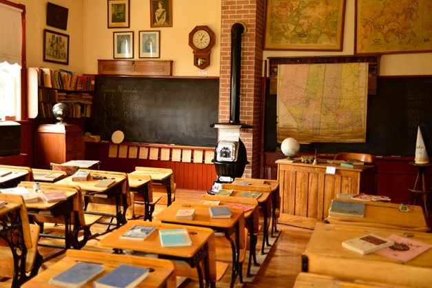 The old school room, ready for students.