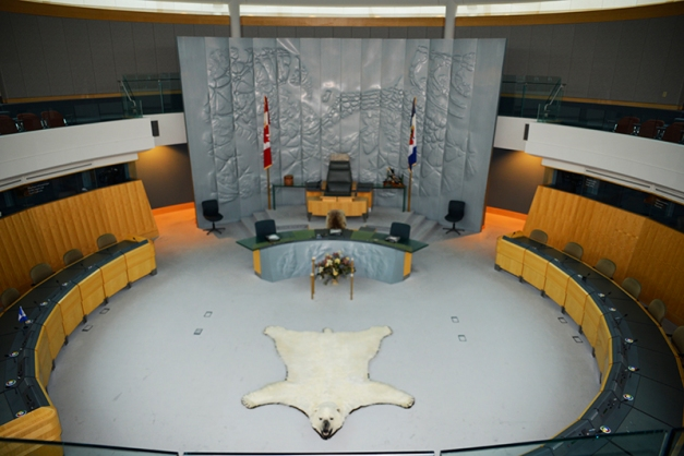 The chamber of the legislative assembly is filled with symbolism and deeper meaning. There are no political parties in the North West Territory - the MLAs are elected by the people and stand as independent representatives.