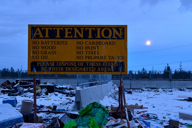 Here we are, twilight with a full moon rising at the Yellowknife dump...