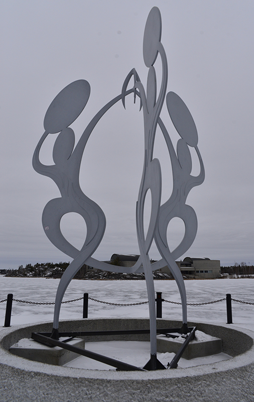 "The tour concludes with a walk along an impressive art collection adorning the walls. Only a short walk from the Legislature Ti-Bo's sculpture ""United in Celebration"" is situated on the shore of Frame Lake."