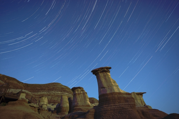Star Trails over the Badlands