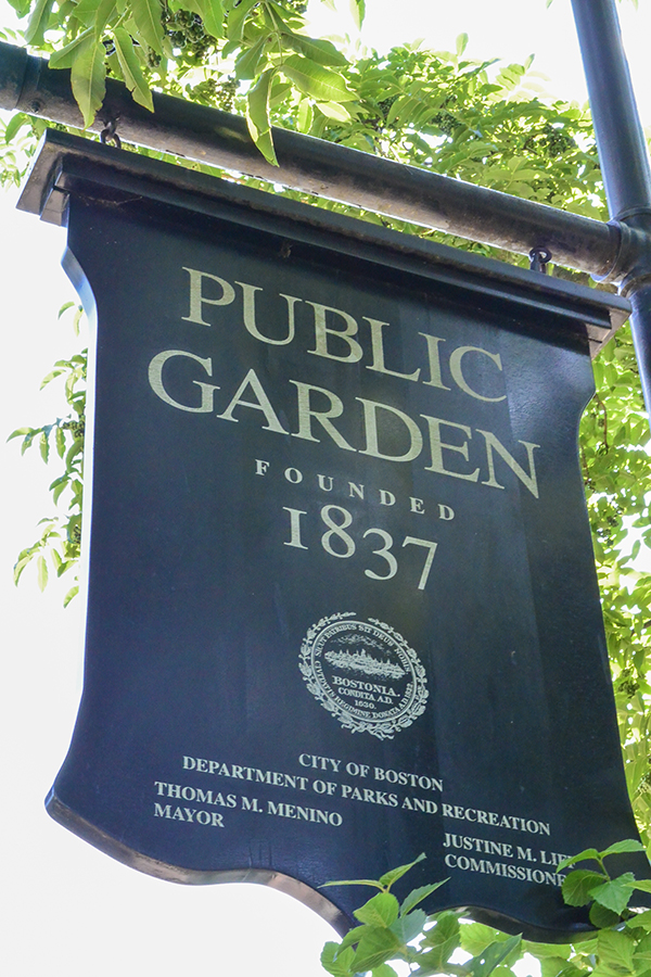 Boston Public Garden sign
