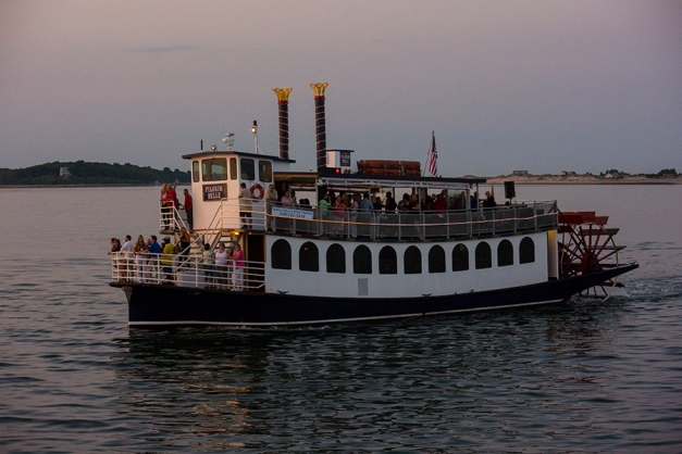 The Pilgrim Belle was eager to impress anyone not on board - live music and laughter fueled by liquid refreshments grew louder as the evening plunged into the darkness.