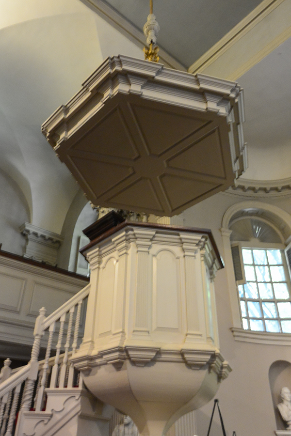 "The pulpit in King's Chapel conjured up an imaginary preacher sharing his message that would have been easily projected thanks to the acoustic hard ""roof"" overhead."