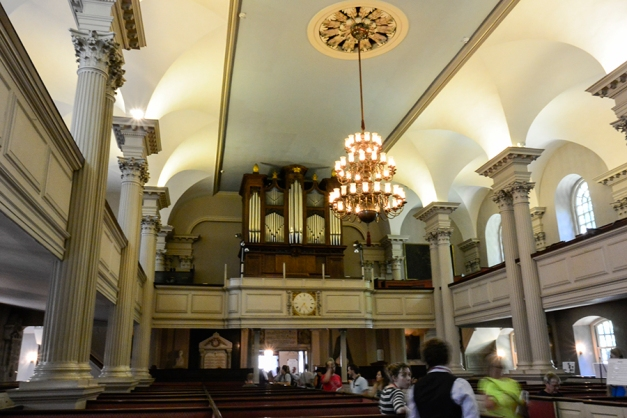 The pipe organ and chandelier are strong focal points as we exited this Boston landmark.