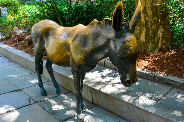 The life-like donkey statue...