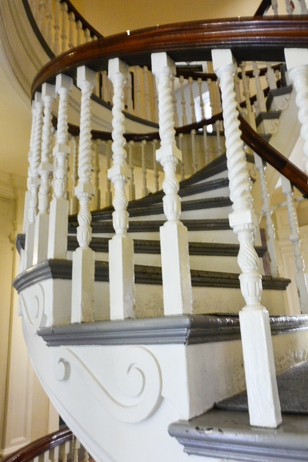 The circular staircase leading to the second floor from the main floor foyer guides visitors to the staterooms.