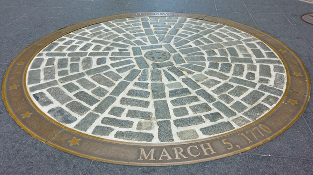 The commemorative circle on the pavement marks the place of the Boston Massacre in 17