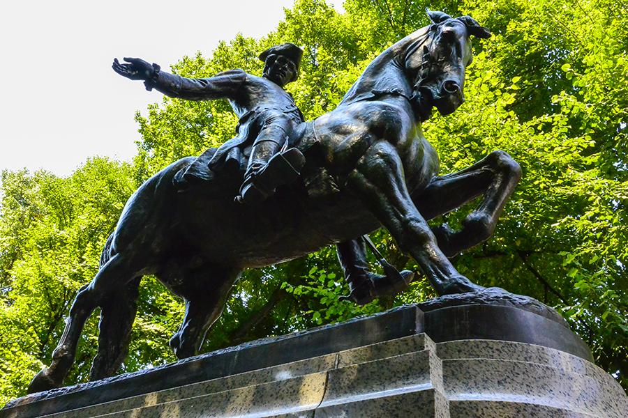 paul revere bronze statue exploring culture searching light