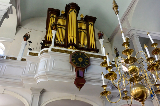 The interior of the Old North Church, the oldest working clock in North America, a finely crafted organ and two French statues that were gifted to the church by a British