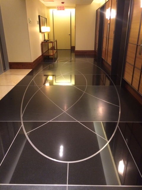 The elevator foyer - with great line designs...